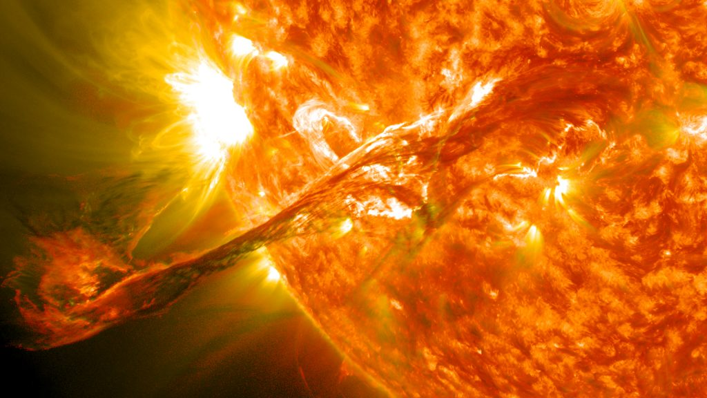 On August 31, 2012 a long filament of solar material that had been hovering in the sun's atmosphere, the corona, erupted out into space at 4:36 p.m. EDT. The coronal mass ejection, or CME, traveled at over 900 miles per second. The CME did not travel directly toward Earth, but did connect with Earth's magnetic environment, or magnetosphere, causing aurora to appear on the night of Monday, September 3. Picuted here is a lighten blended version of the 304 and 171 angstrom wavelengths. Cropped Credit: NASA/GSFC/SDO NASA image use policy. NASA Goddard Space Flight Center enables NASA's mission through four scientific endeavors: Earth Science, Heliophysics, Solar System Exploration, and Astrophysics. Goddard plays a leading role in NASA's accomplishments by contributing compelling scientific knowledge to advance the Agency's mission. Follow us on Twitter Like us on Facebook Find us on Instagram